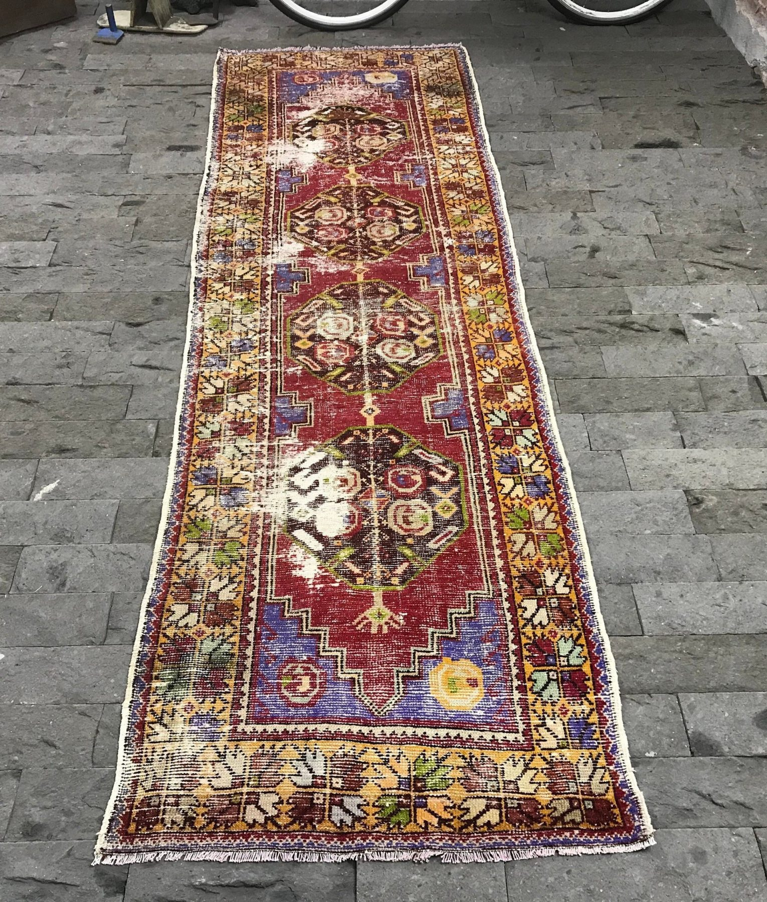Cherry Runner Rug 3x9 8ft Red Oushak Rug Kitchen Runner Rug Turkish Rug Boho Rug Handmade Rug Pink Turkish Rug Anatolian Rug