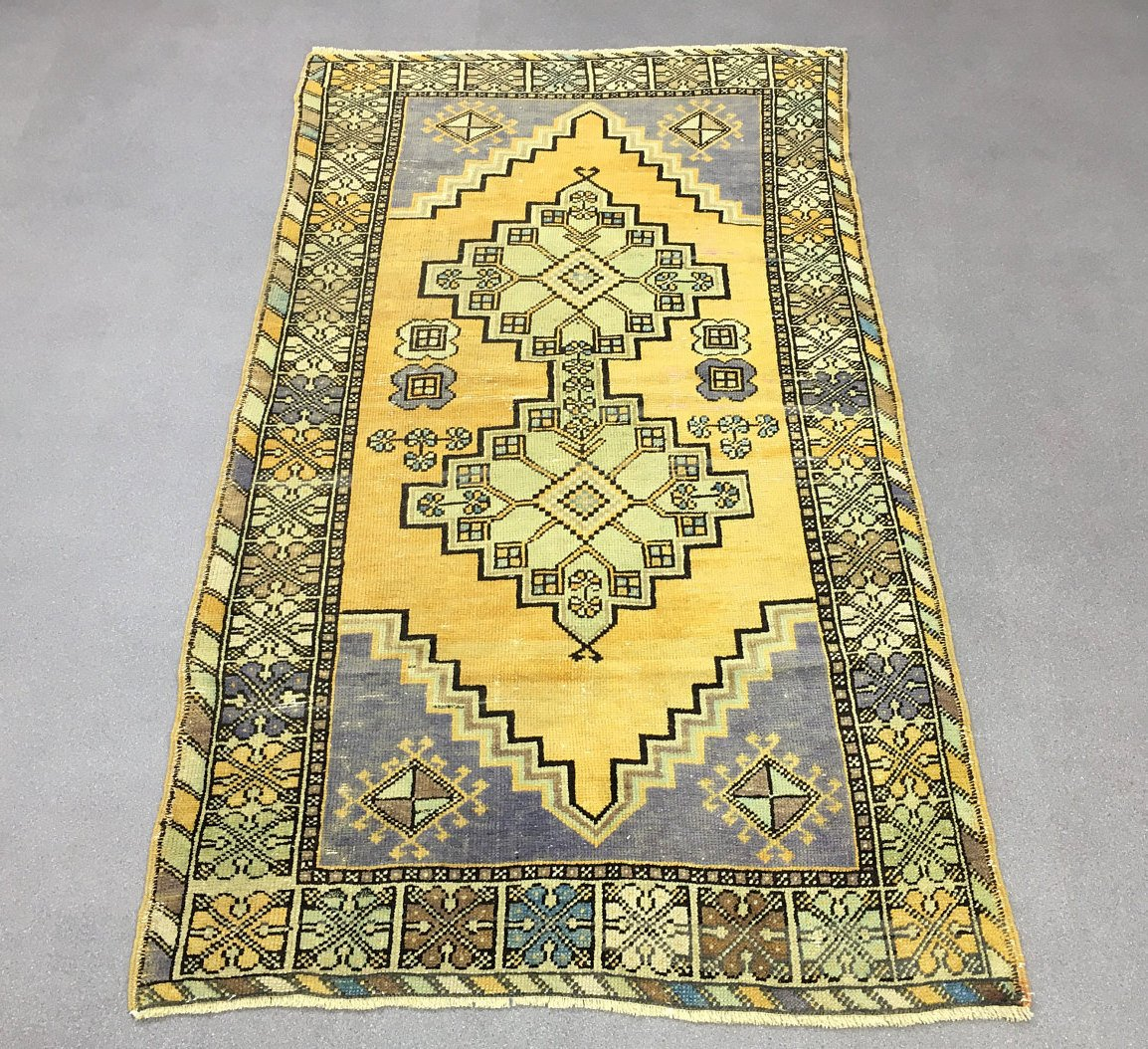 Oushak Rug 3.8×6.8ft Mute Yellow Oushak Rug Kids Room Rug Handmade Rug  Runner Rug Turkish Runne.