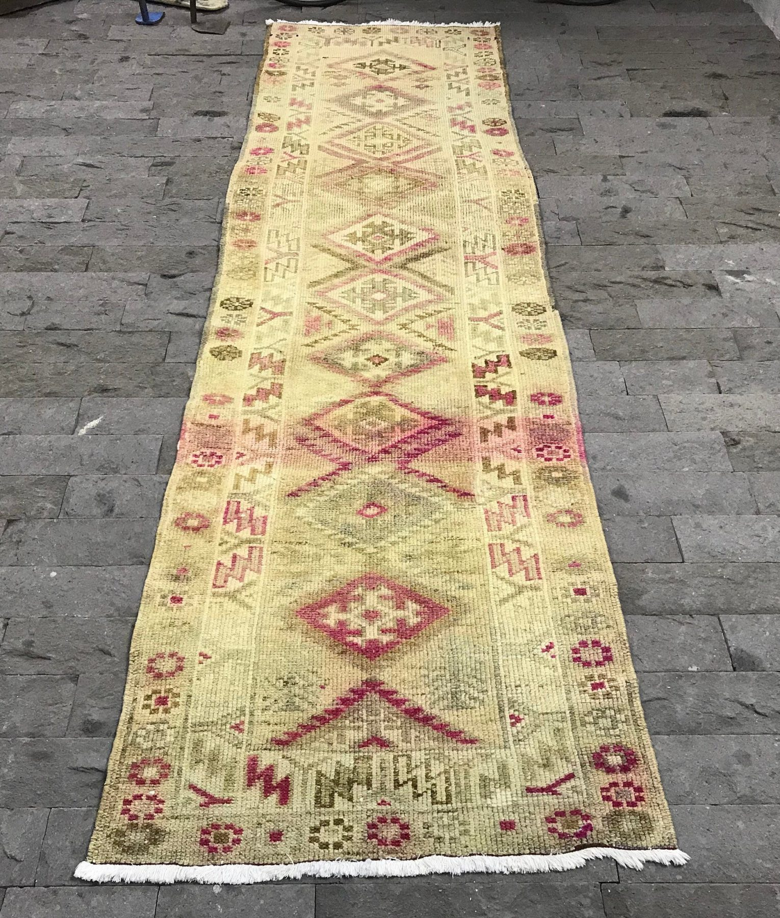 Turkish Runner Rug 2.9x10.2ft Hairy Oushak Runner Rug