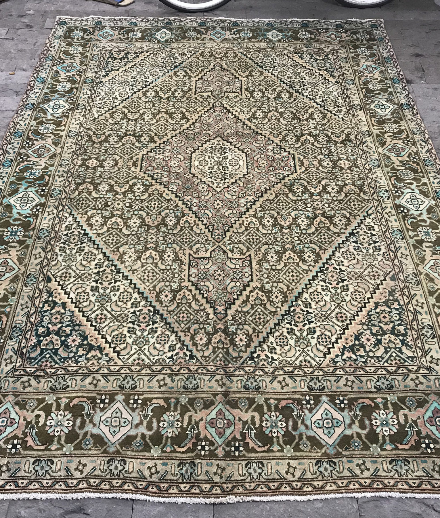 Large Persian Rug 6 4x9 3ft Vintage Beige Oushak Distressed Afghan Turkish Size Brown Area Overdyed