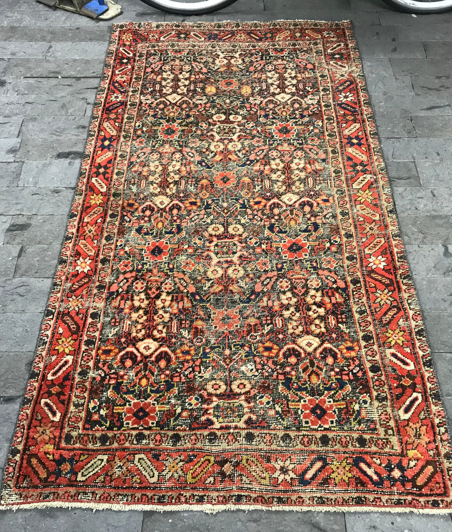 Persian Rug 3 4x6 5ft Vintage Mute Red Rug Distressed Oushak Rug Turkish Rug Big Runner Rug Pink Turkish Rug Overdyed Lowpile Rug
