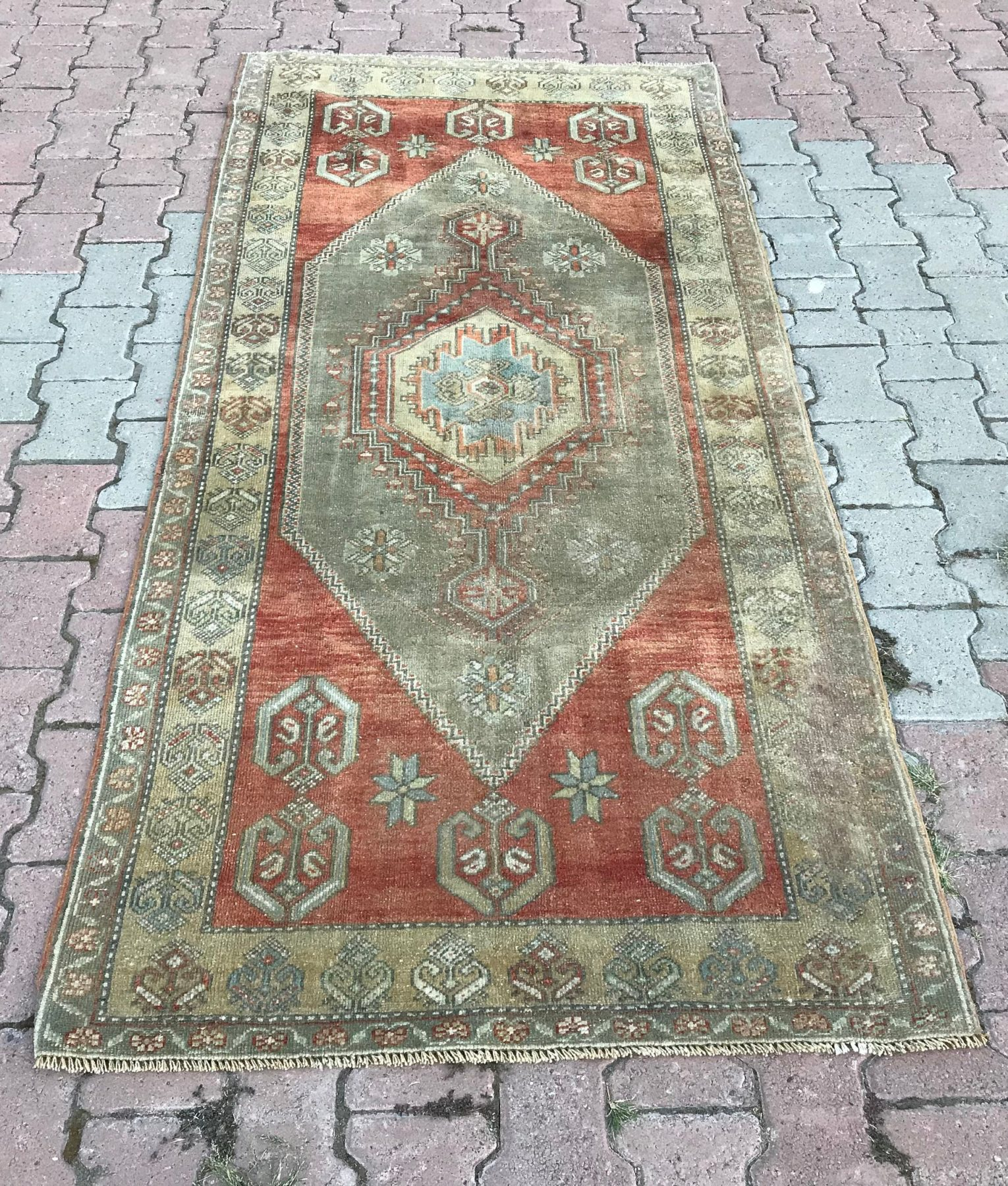 Oushak Rug 3 5x7 5ft Vintage Rug Boho Rug Mute Orange
