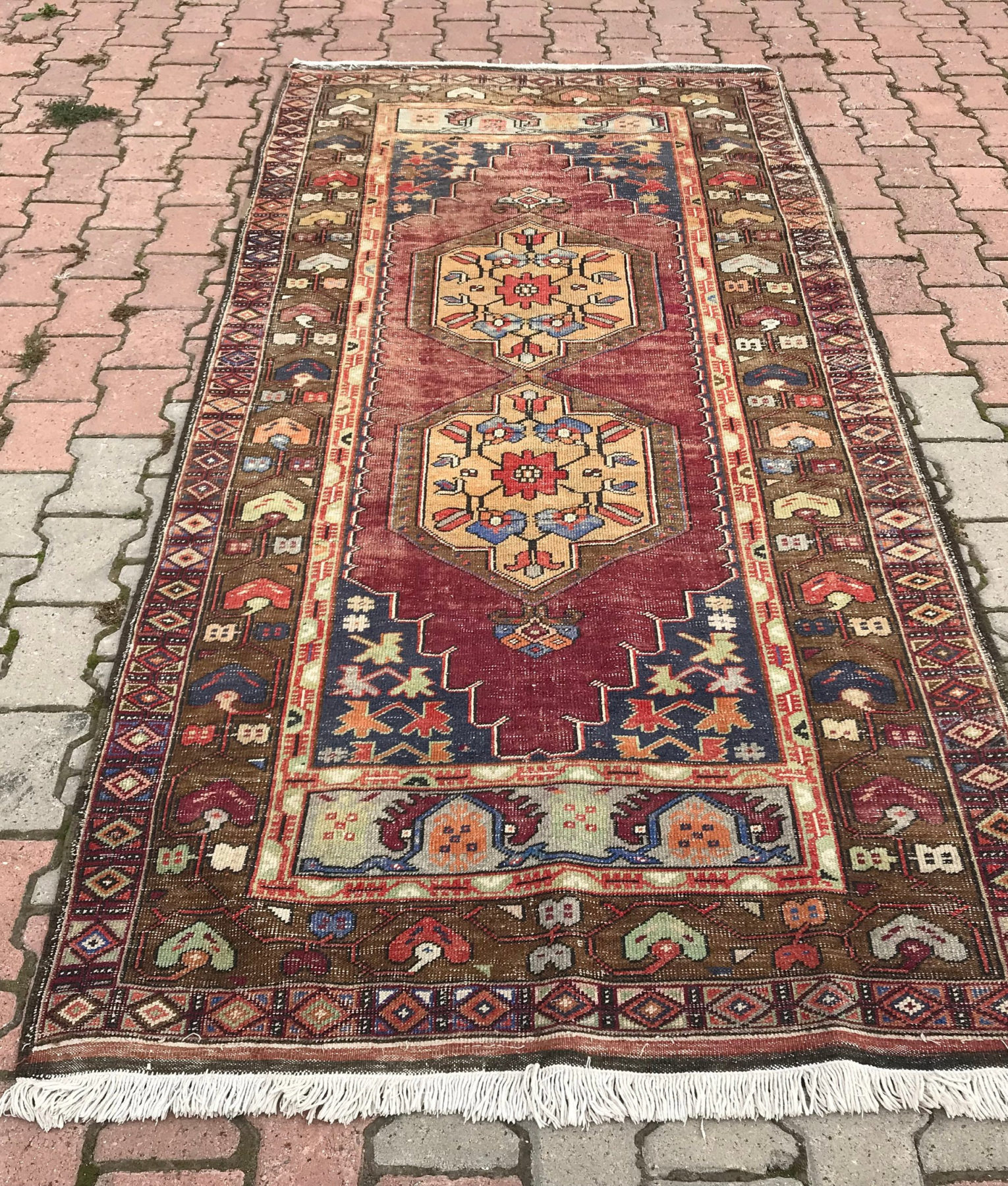 Vintage Turkish Handwoven 4.2x8.7 Ft Oushak Rug Wool Low Pile Oushak Rug  Handknotted Anatolian Runner Rug Decorative Kitchen Rug Faded