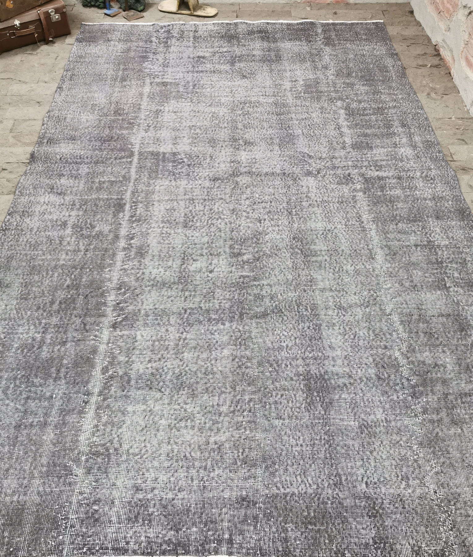 Gray Overdyed Rug 6 8x10 6ft Vintage Turkish Rug