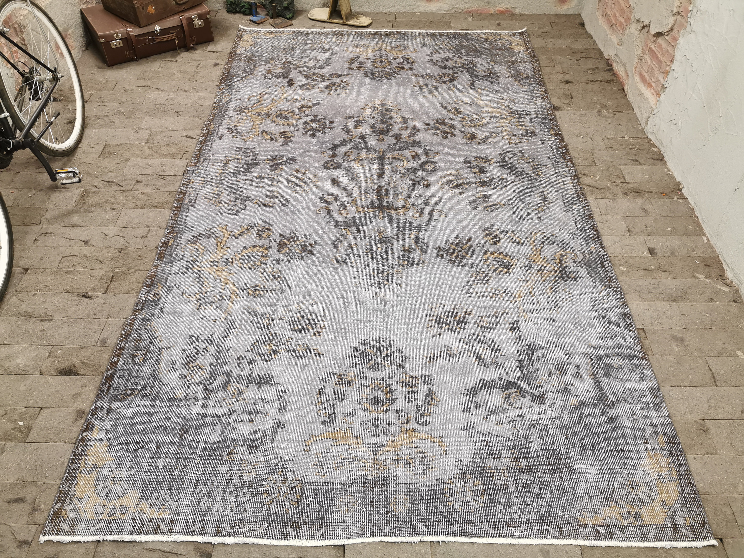 Gray Overdyed Rug 6x10 3ft Vintage