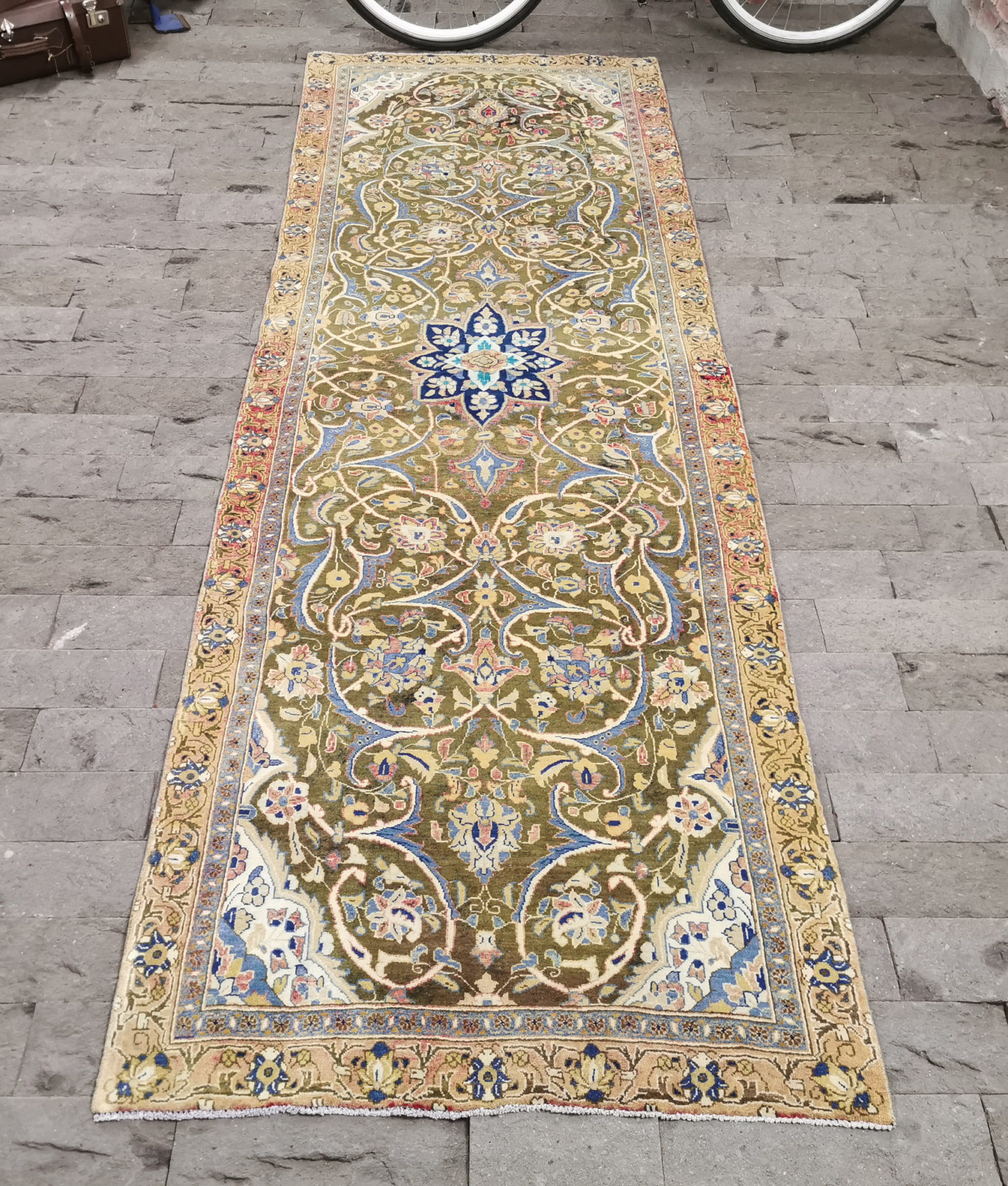 Persian Rug 3 2x9 9ft Green Runner